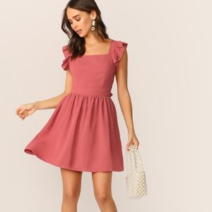SHEIN Tie Back Ruffle Strap Skater Dress size M